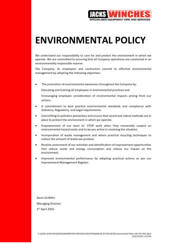 Environmental Policy JW-POL-001 160713_001