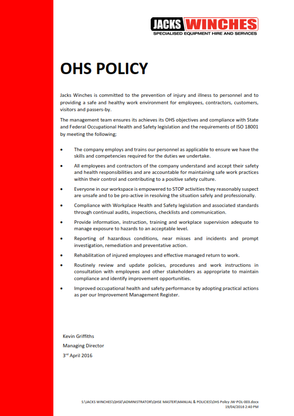 OHS Policy JW-POL-003 160713_001