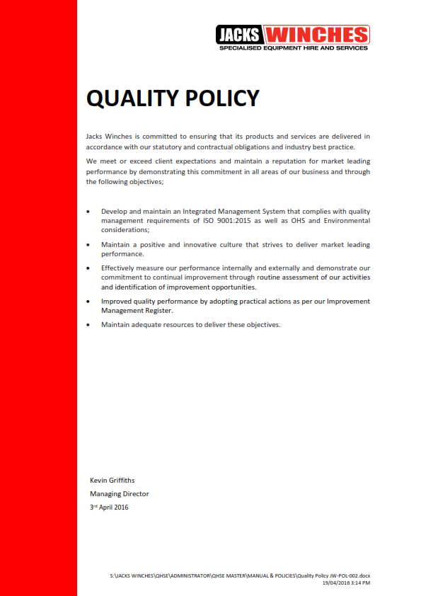 Quality Policy JW-POL-002 160713_001